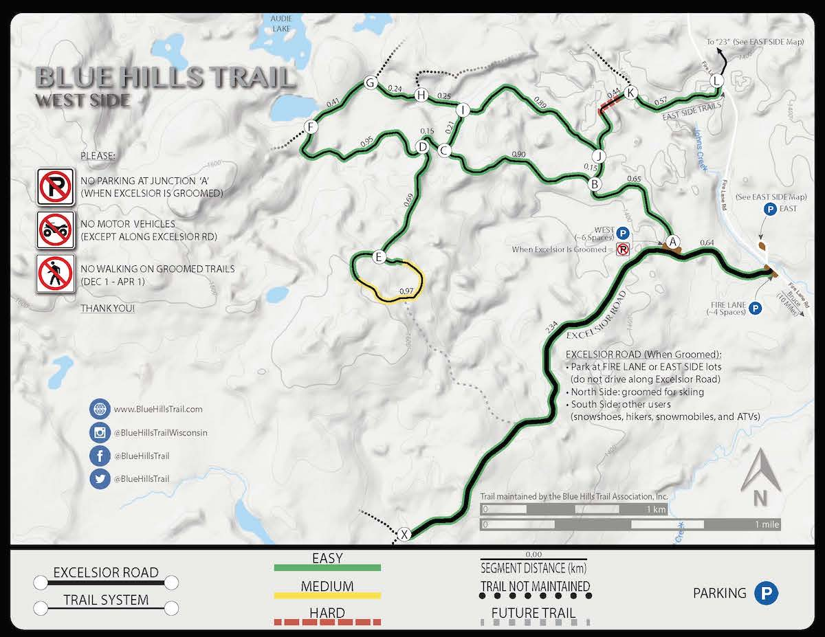 New West Side map for the Blue Hills Trail in northern Wisconsin