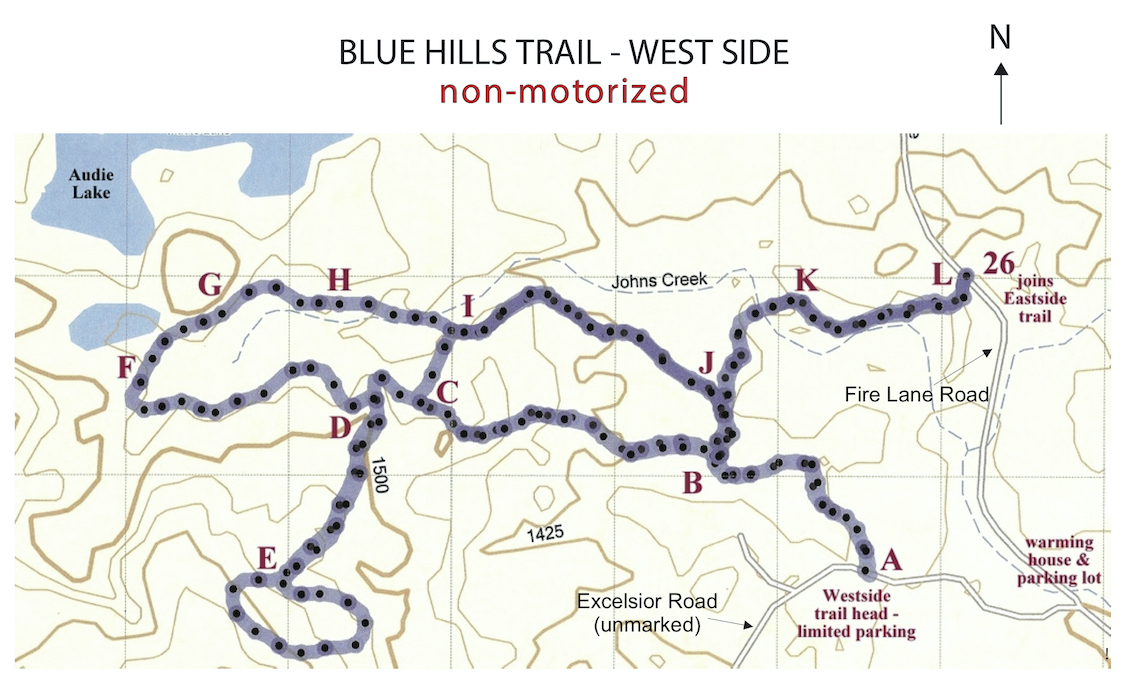old West Side map for the Blue Hills Trail
