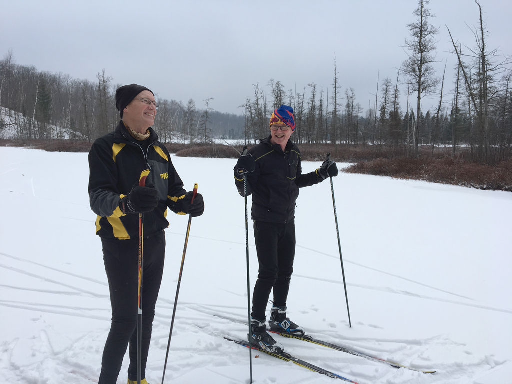 Cross country skiing on Audie Flowage near the Blue Hills Trail in northwest Wisconsin