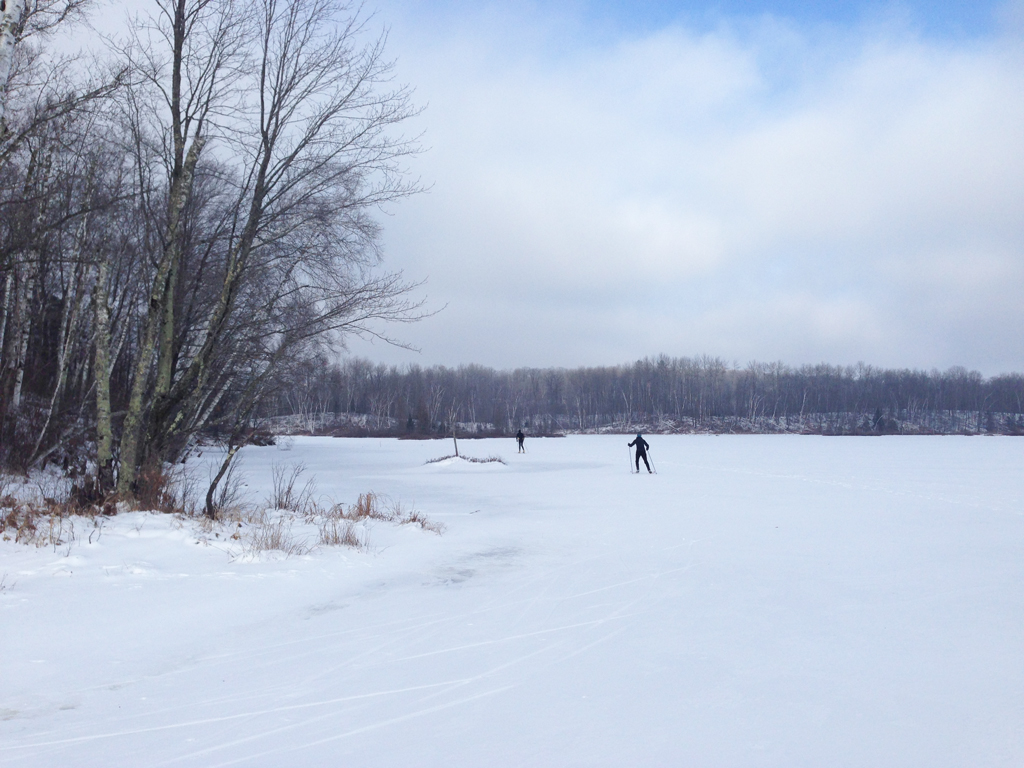 Lake skiing on Audie Flowage in northwest Rusk County