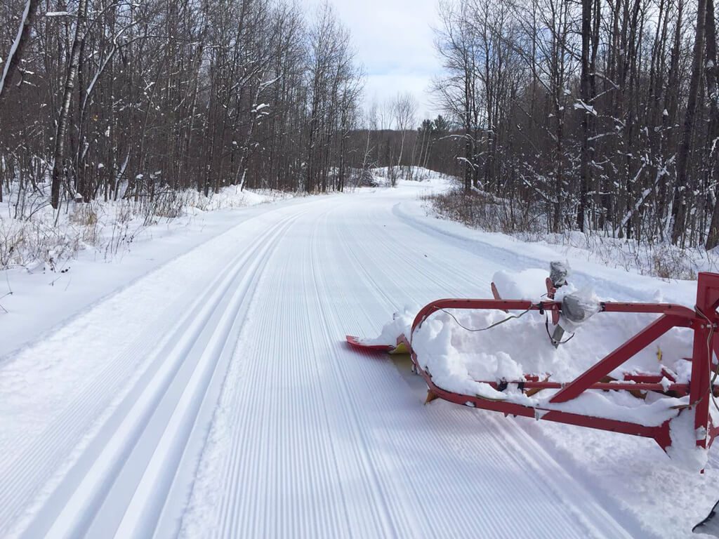 grooming cross country ski trails at the Blue Hills Trail