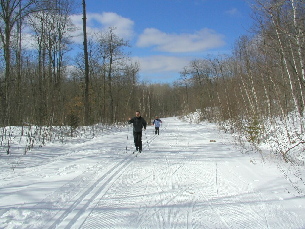 classic skiers in early March at the Blue Hills Trail