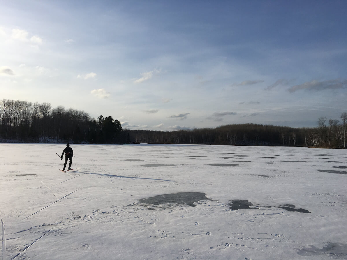 Cross country skiing on Audie Lake in northwest Wisconsin