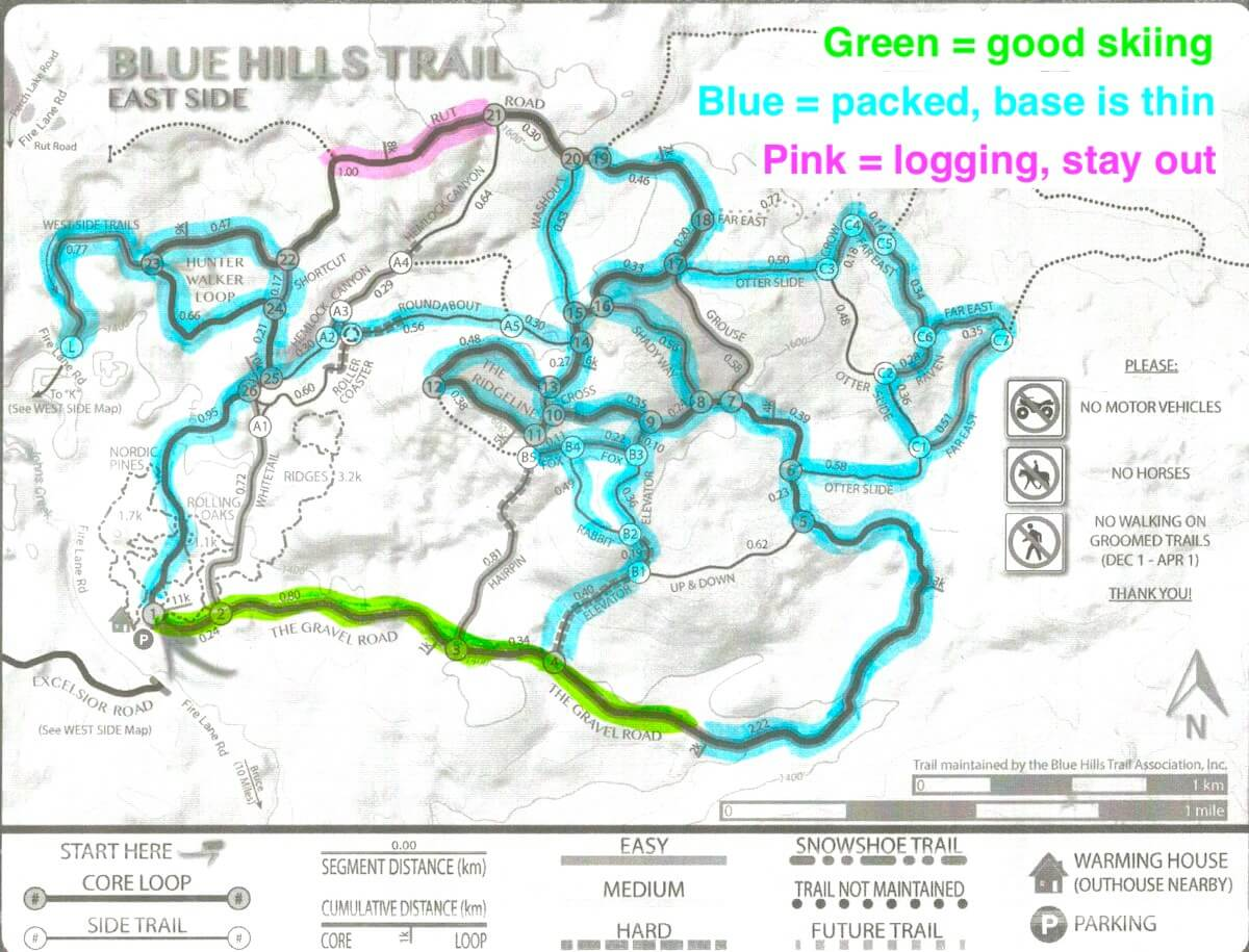 map showing groomed trails on the East Side of the Blue Hills Trail