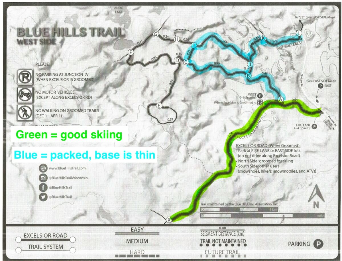 map showing groomed trails on the West Side of the Blue Hills Trail