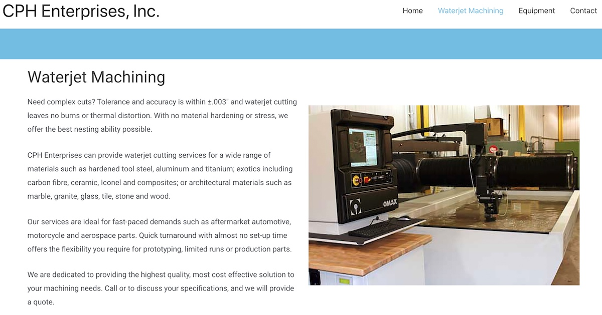 Waterjet machining at CPH Enterprises
