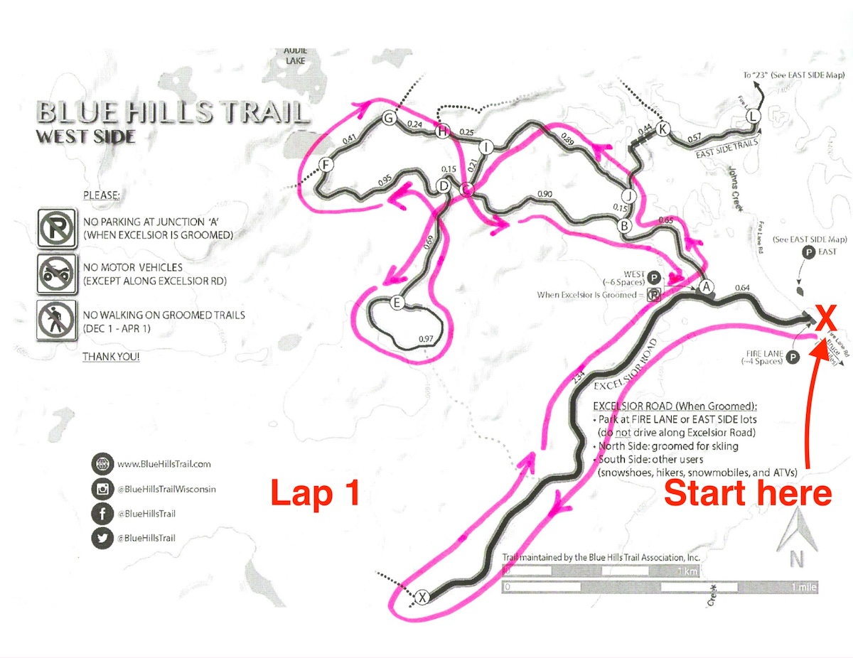 Kortelopet Virtual Race Course at the Blue Hills Trail - Lap 1