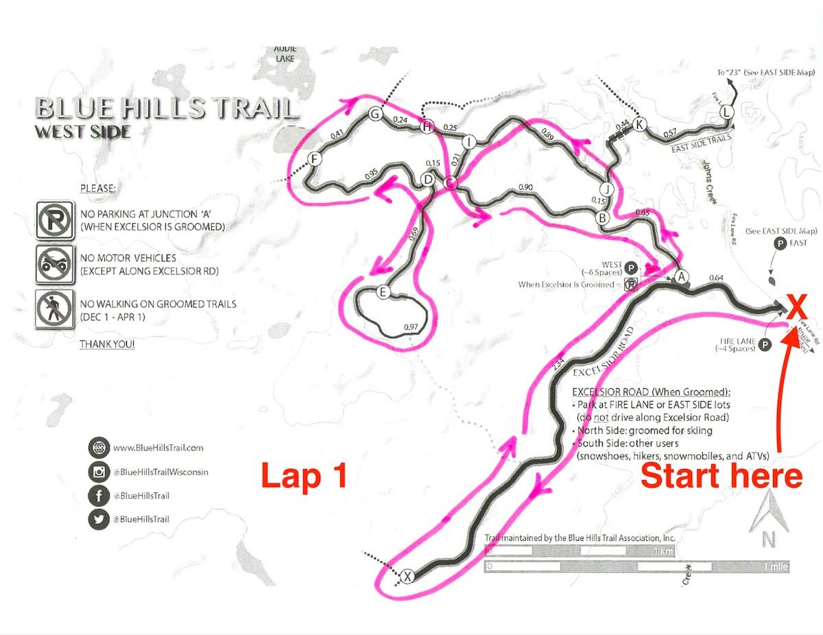 Kortelopet Virtual Race Course at the Blue Hills Trail - Lap 1