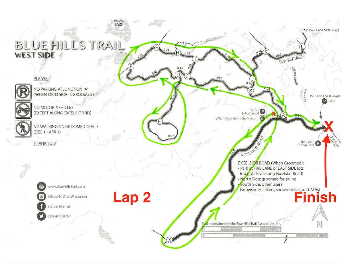 Kortelopet Virtual Race Course at the Blue Hills Trail - Lap 2