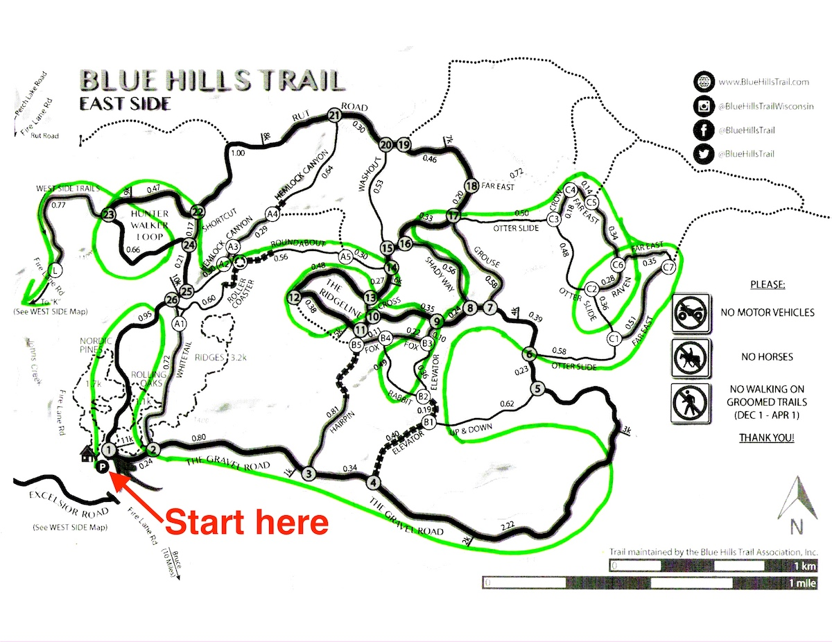 Birkebeiner Virtual Race Course at the Blue Hills Trail - East Side