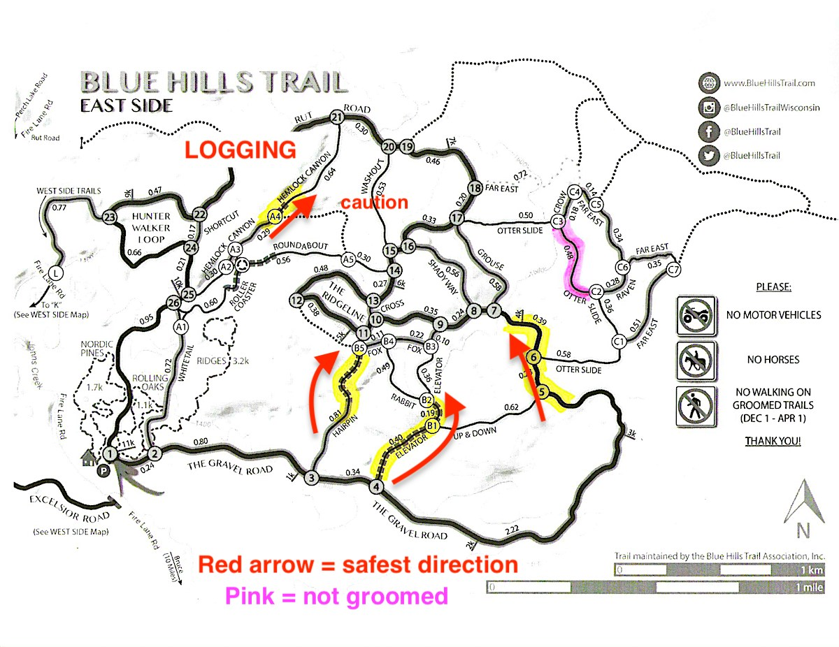 Map showing ski trail precautions at the Blue Hills Trail in northwest Wisconsin