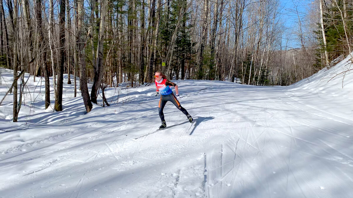 Skiing at the Blue Hills Trail during the 'Virtual Birkie' week