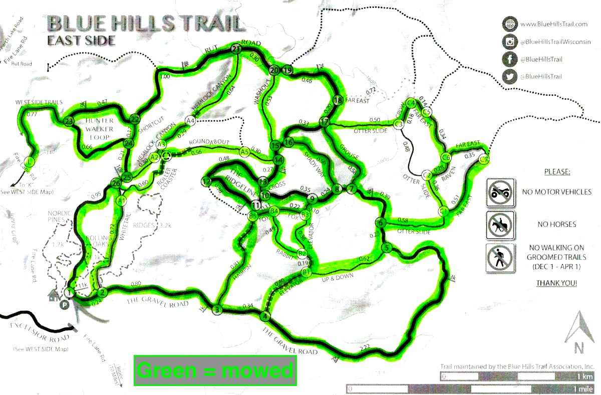 Map showing mowed trails at the Blue Hills Trail