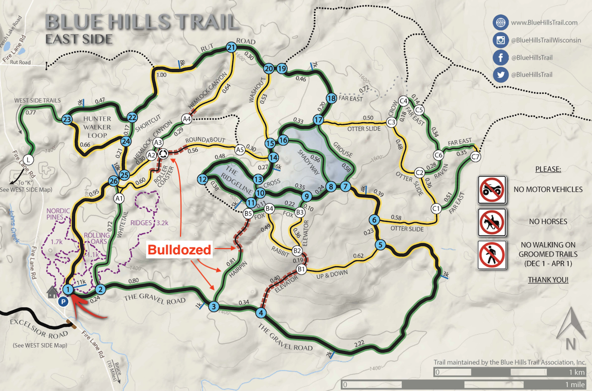 Map showing location of recent bulldozing on the Blue Hills Trail