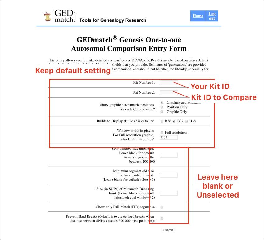 GEDmatch Autosomal Comparison