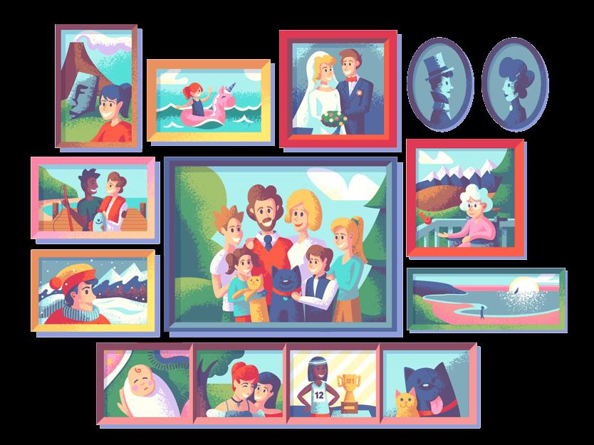 Familieportretter (Illustrasjon: Tatiana Bischak)