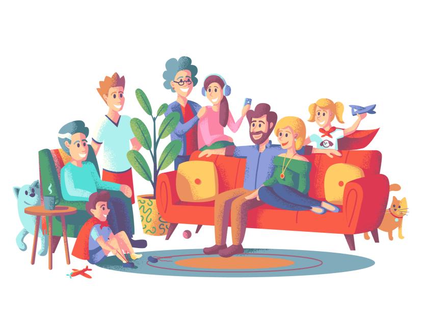 En kjernefamilie med voksne og barn som er samlet i stuen