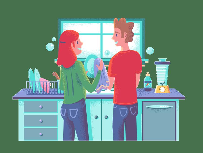 Et samboerpar som gjør husarbeid sammen