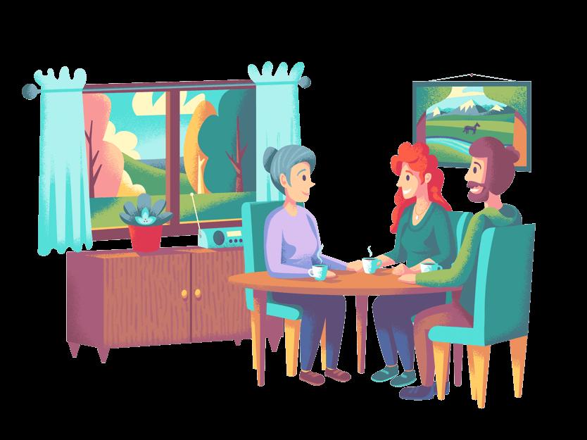 En eldre person og to yngre familiemedlemmer som snakker om fremtidsfullmakt