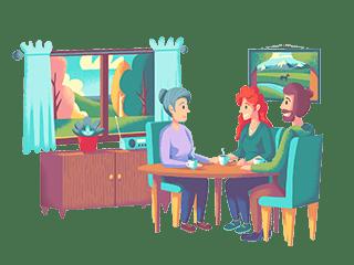 En familie som snakker om viktige valg for fremtiden