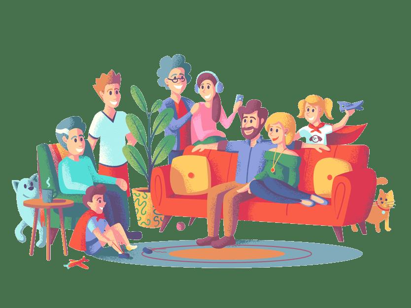 En lykkelig storfamilie som er samlet