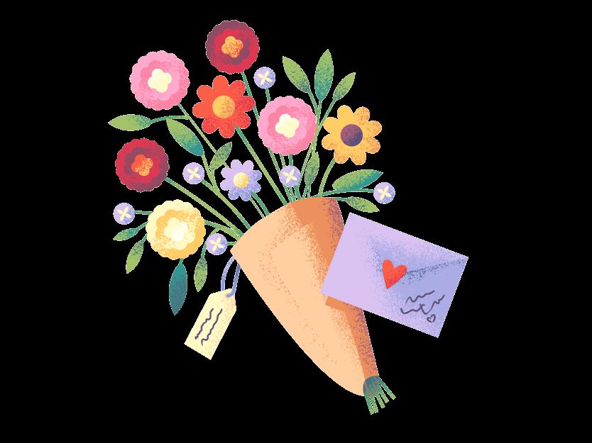 En blomsterbukett som symboliserer takknemlighet