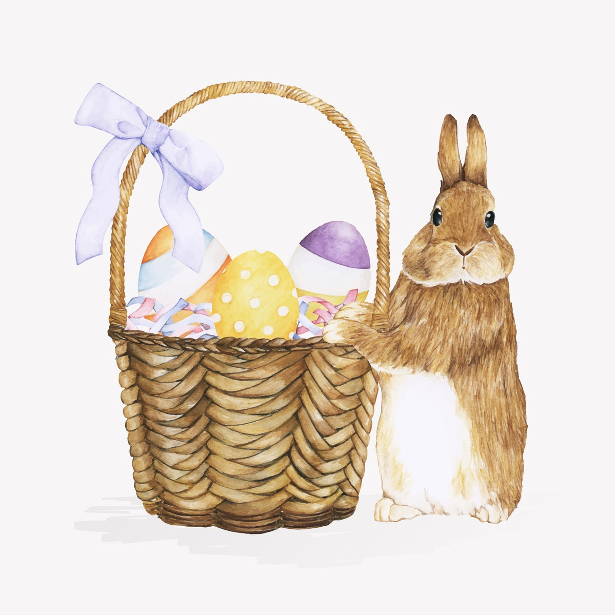 Watercolor image of a rabbit standing next to an easter basked with easter eggs in it.