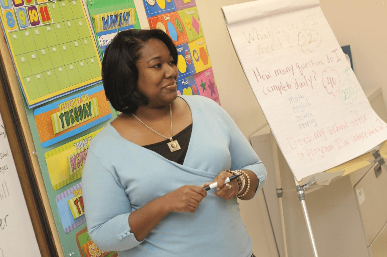 teacher leading a class