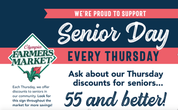 "Senior Day Poster ""Ask about our thursday discounts for seniors 55 and better"""