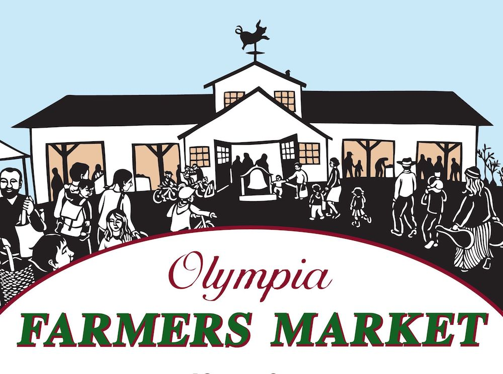 Nikki McClure Original Artwork, papercut of Olympia Farmers Market Barn with shoppers