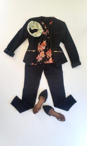 flat lay: black blazer, black and pink, floral, button up blouse, black, corduroy, skinny jeans, pointed toe, black flats, and green Regenerous Designs headband