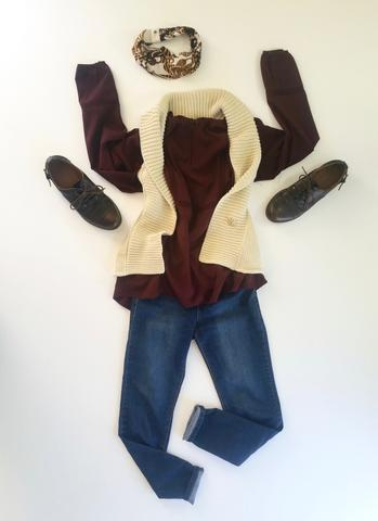 flat lay: wine colored, flowy blouse, cream, woven vest, denim skinny jeans, brown oxfords, and a brown Regenerous Designs headband