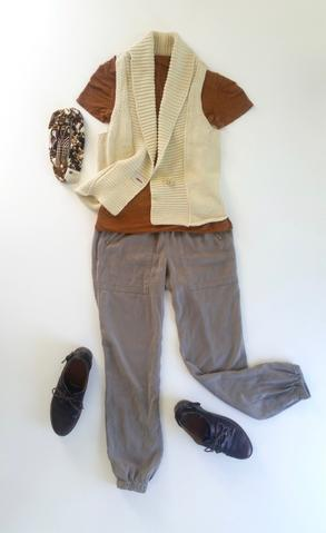 flat lay: orange, knit tee, gray jogger pants, cream, woven vest, brown oxfords, and a brown Regenerous Designs headband