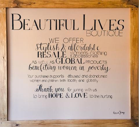 Sign in Beautiful Lives Boutique