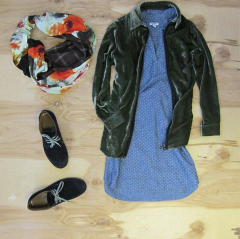 Whits polkadot denim shirt dress, moss green velvet zip up jacket, dark grey sued shoes, and Regenerous Designs watercolor floral brown plaid infinity scarf.