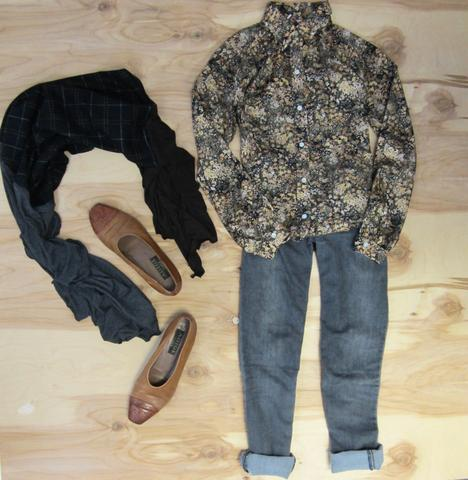 Grey denim pants, neutral floral print button up top, beige slip on dress shoes, and Regenerous Designs black plaid wrap scarf.