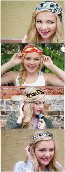 4 pics of a girl showing different ways to wear Regenerous Deigns headbands.