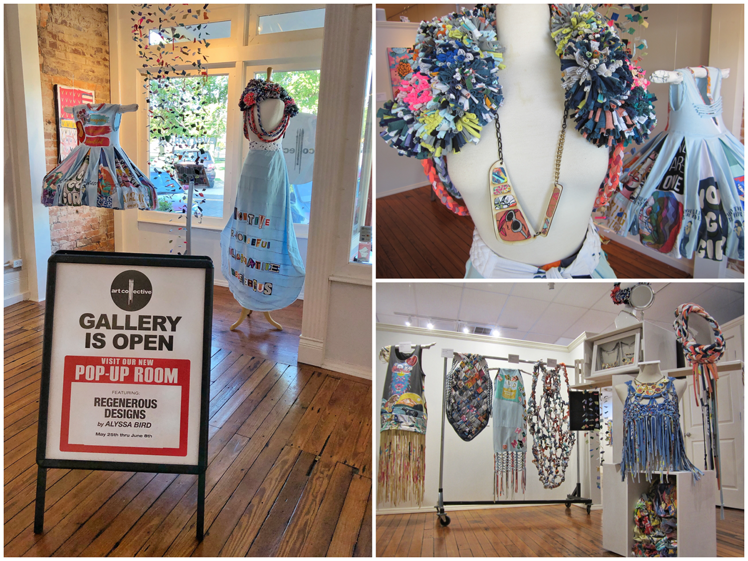 Regenerous Designs Sustainable Fashion collection on display at The Art Collective Gallery