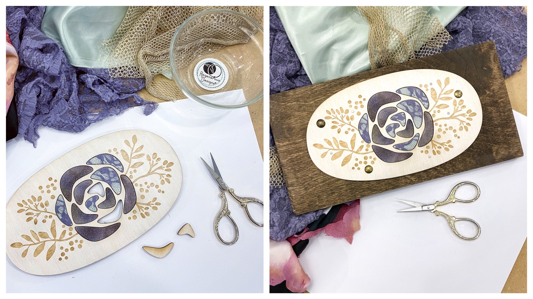 DIY art kit craft project - textile and wood flower