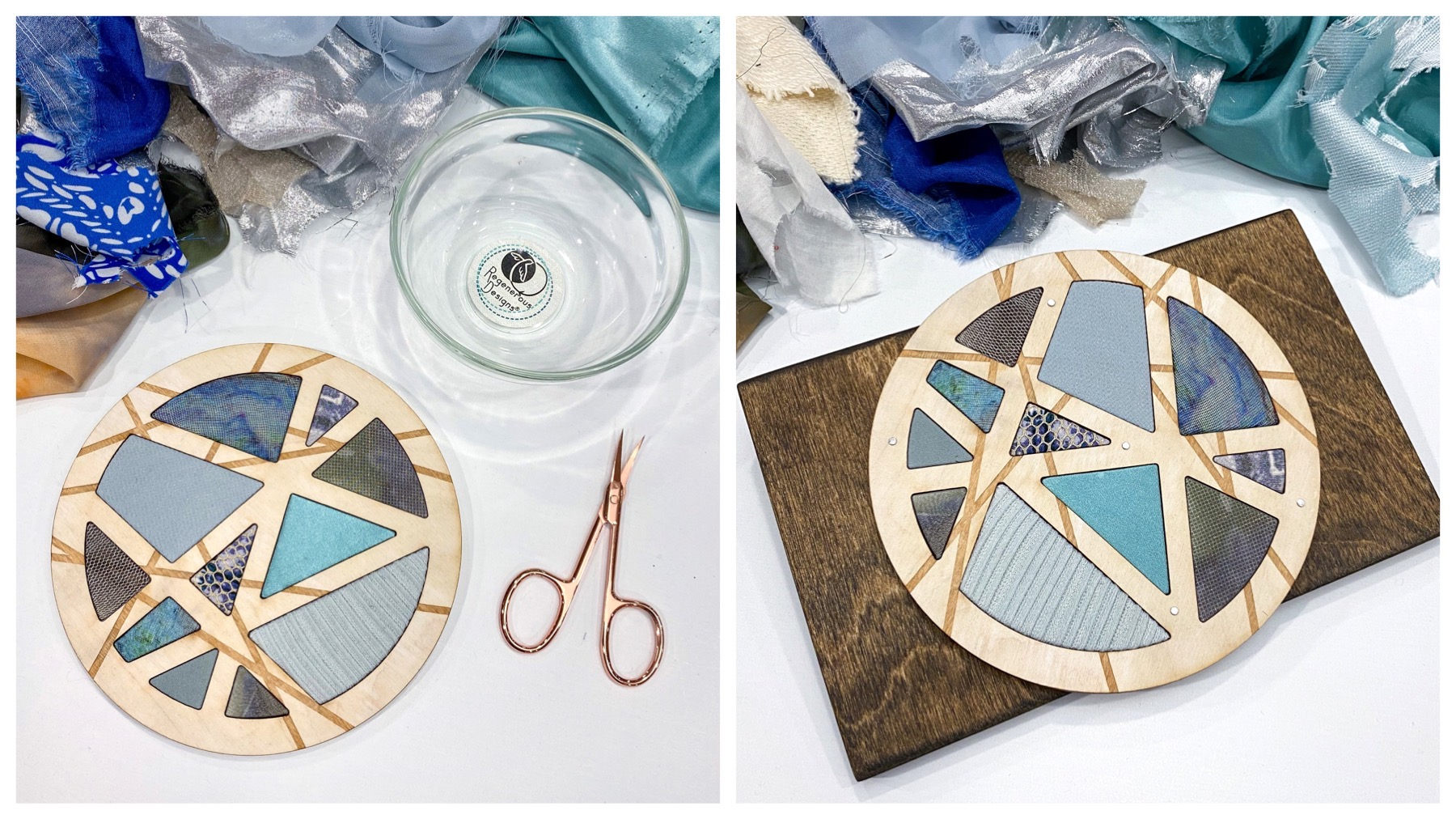 DIY art kit craft project - textile and wood abstract circle
