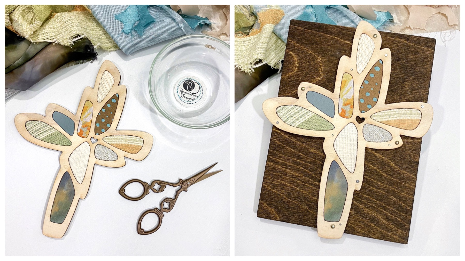 DIY art kit craft project - textile and wood cross