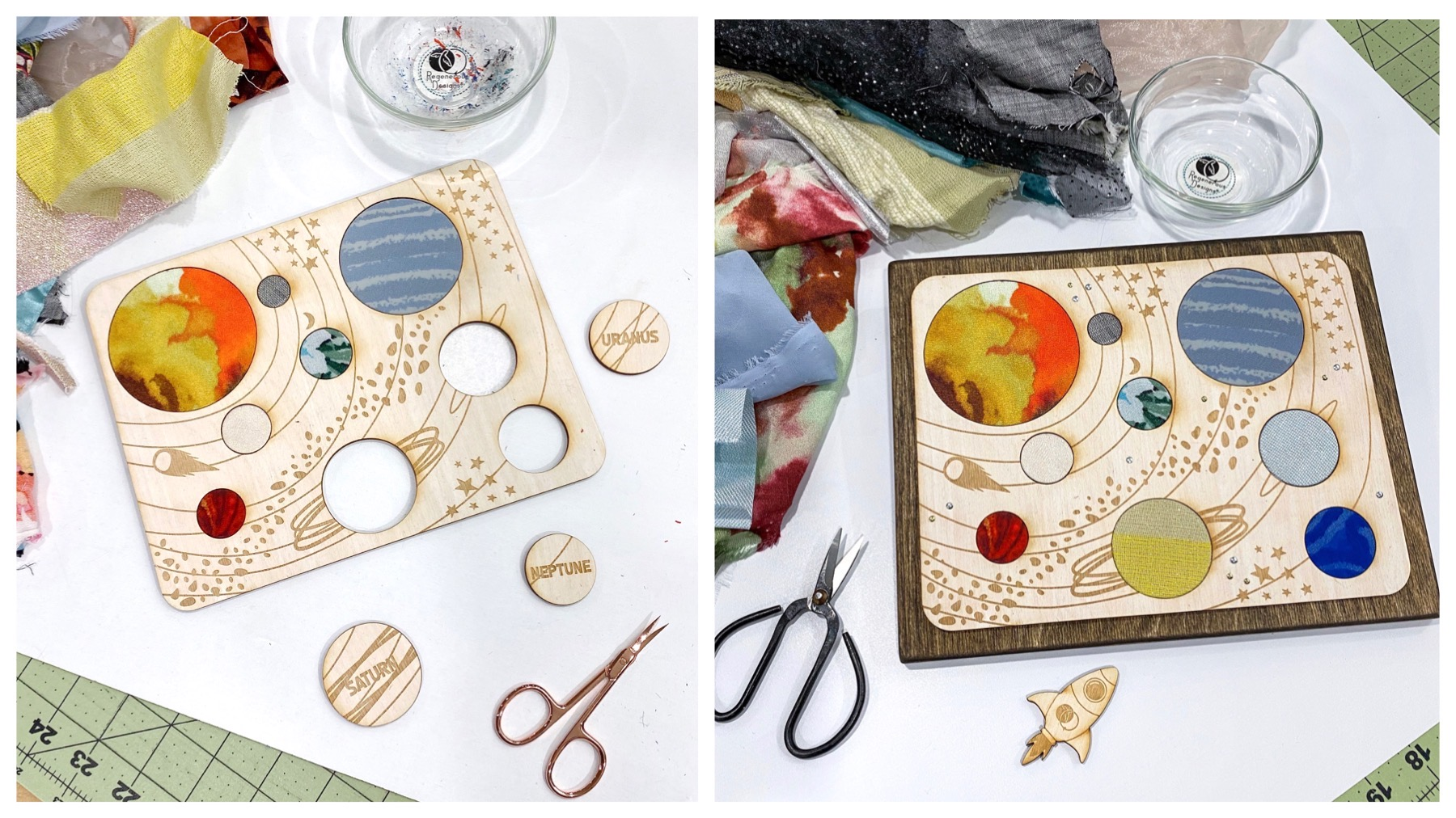 DIY educational art kit craft project for kids - textile and wood solar system space galaxy planets astronaut
