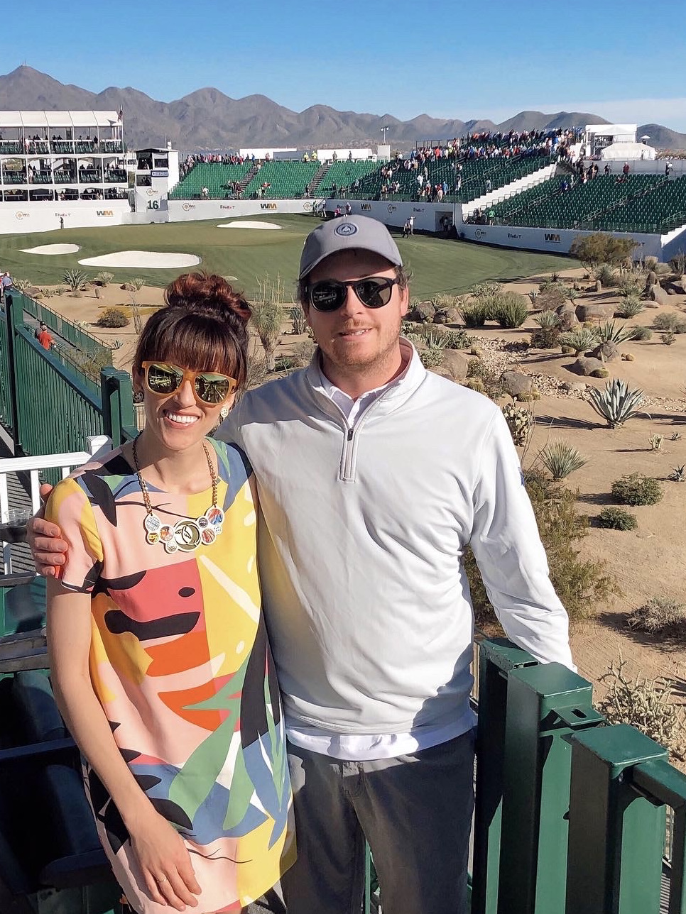 Alyssa Bird and her husband Nick Bahash at the Waste Management Phonix Open Golf Tournament