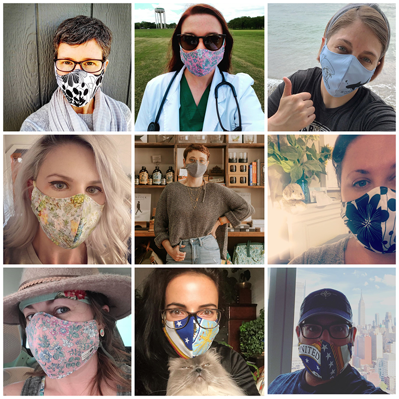 Group of people showing their Regenerous Designs face masks