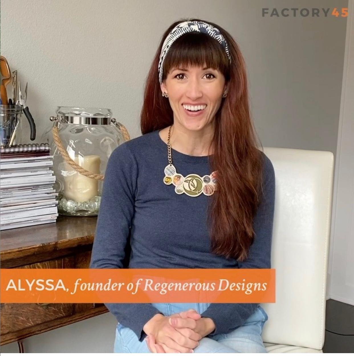 Alyssa Bird talking about the Factory45 sustainable fashion program