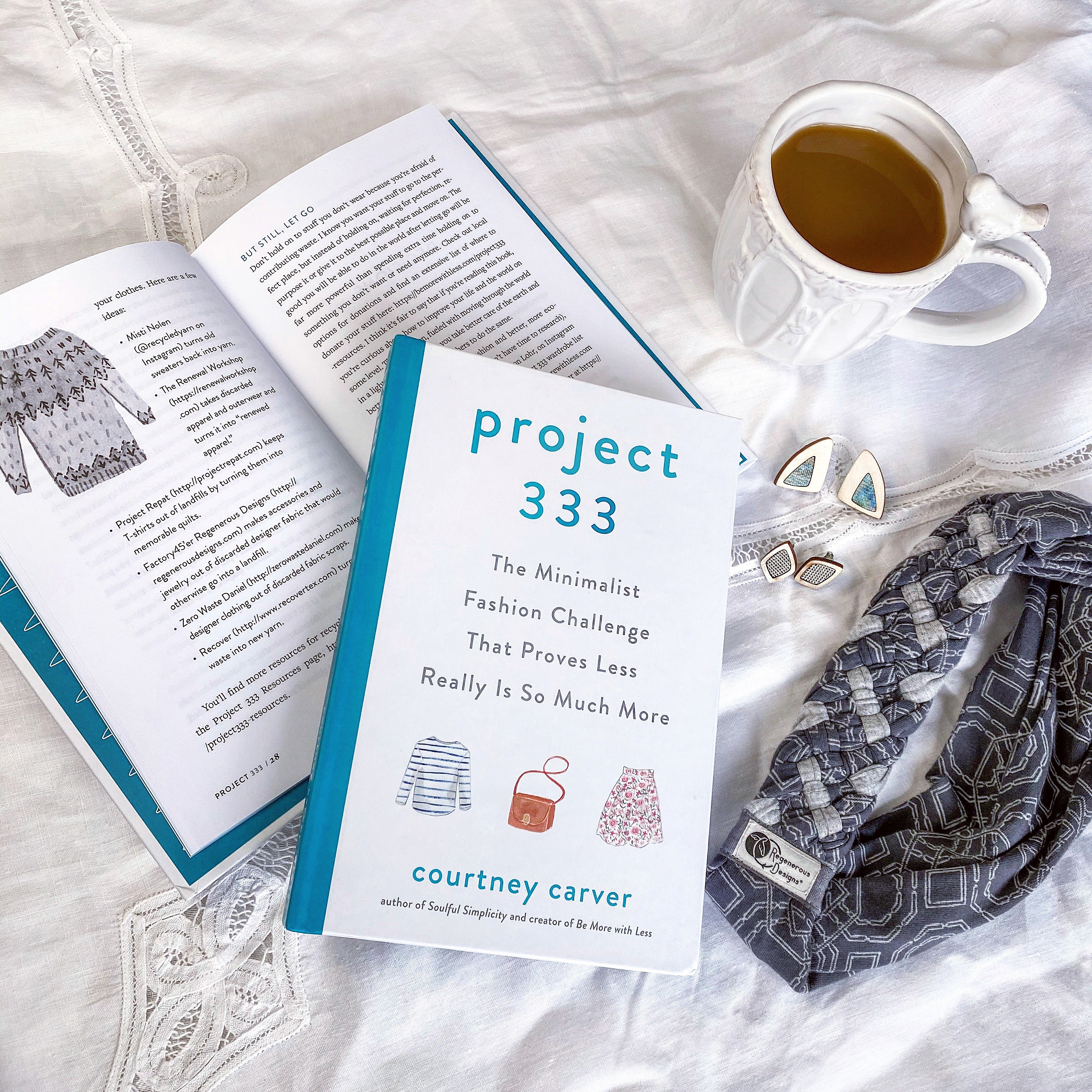 The book, Project 333, opened to the page featuring RegenerousDesigns