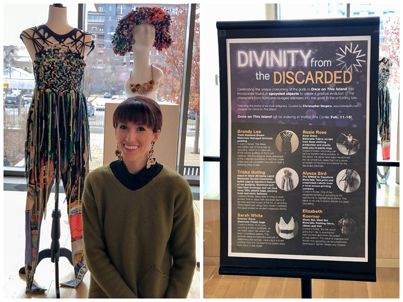 Alyssa Bird standing in front of her wearable upcycled art at the Walton Arts Center during the showing of Once on this Island