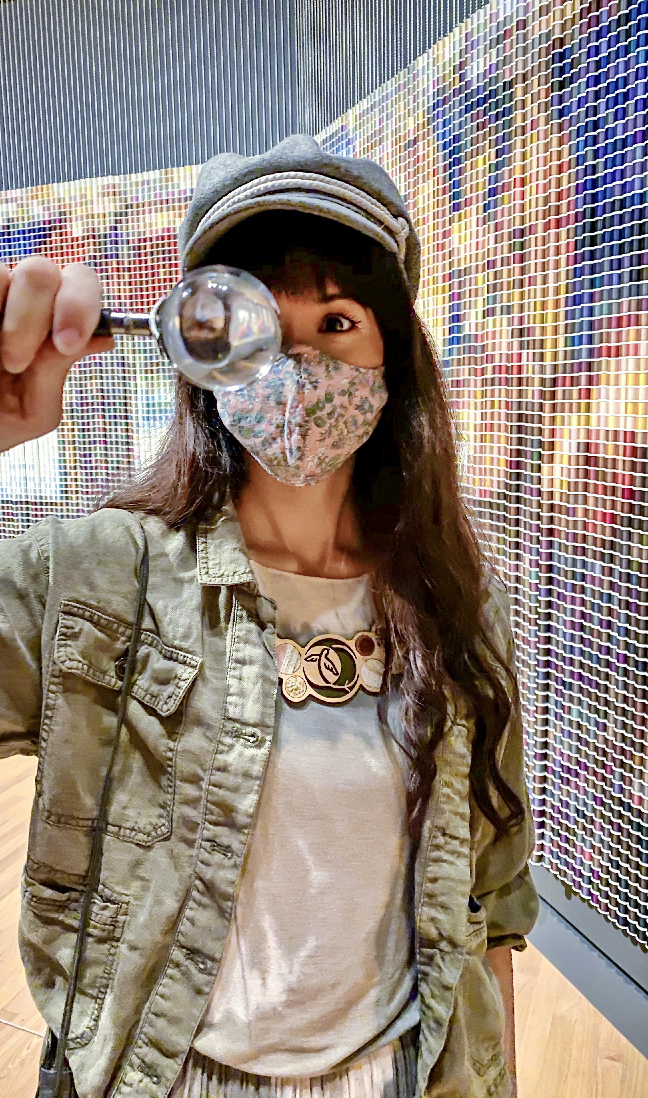 Alyssa Bird wearing Regenerous Designs accessories at Crystal Bridges Art Museum in Bentonville, AR