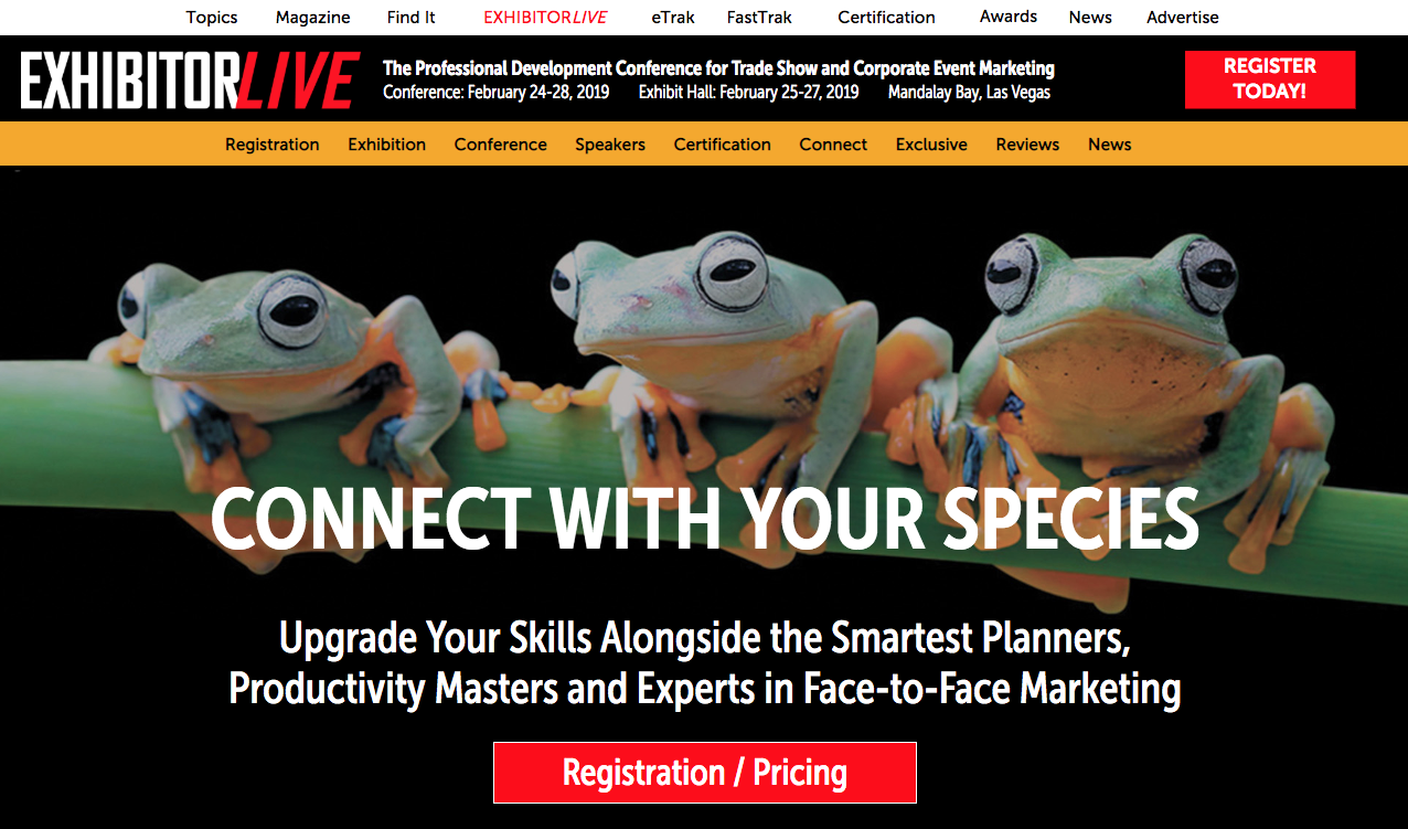 "ExhibitorLive website ""Connect with Your Species"""
