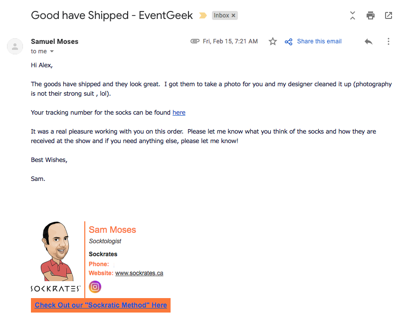 email from Sam at Sockrates